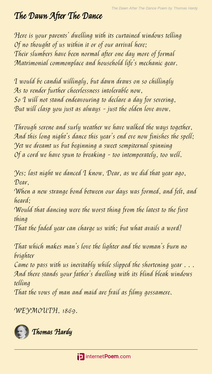 The Dawn After The Dance Poem By Thomas Hardy