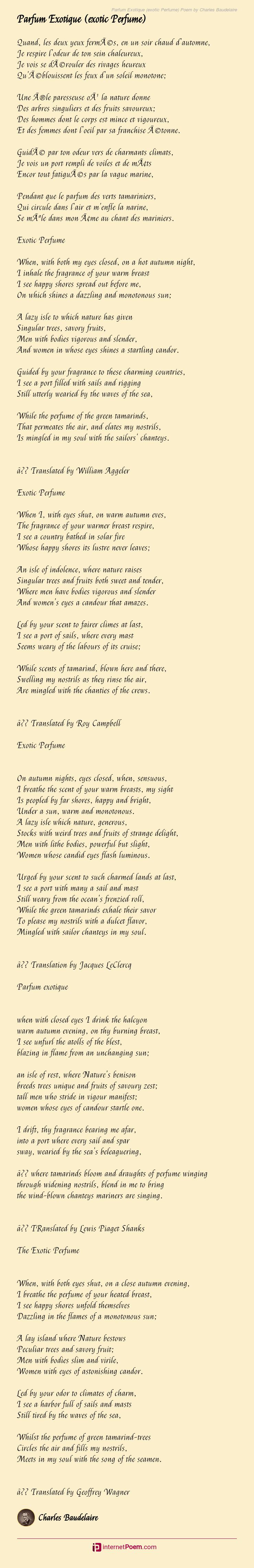 Parfum Exotique Exotic Perfume Poem By Charles Baudelaire