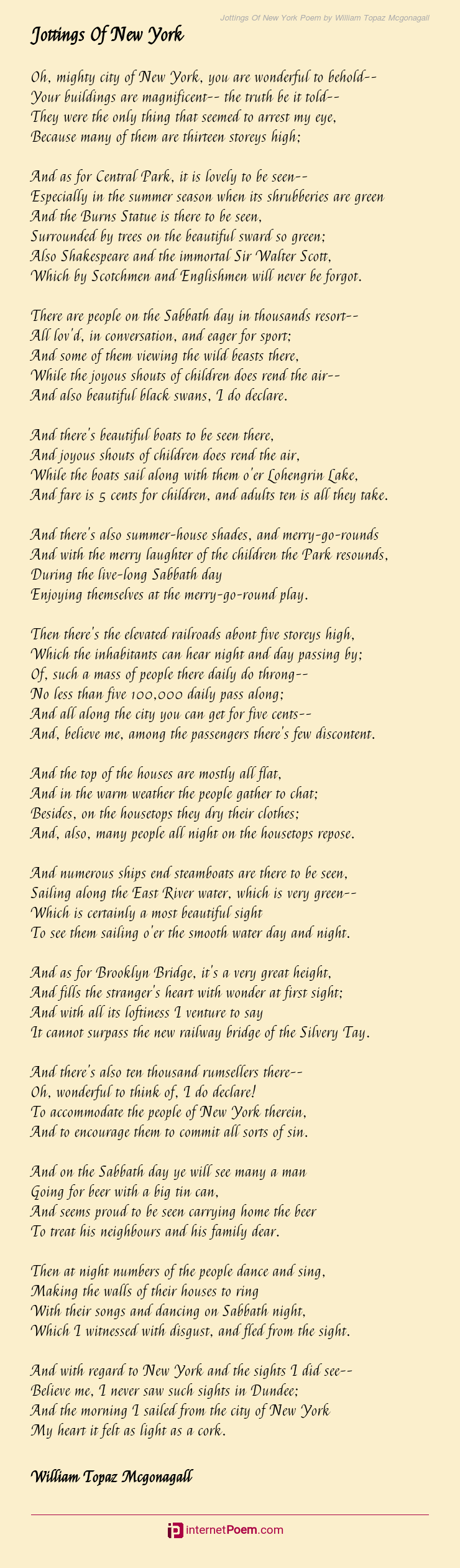 Jottings Of New York Poem By William Topaz Mcgonagall