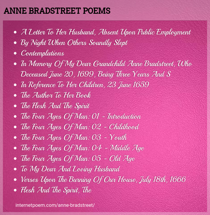 Anne Bradstreet Poems