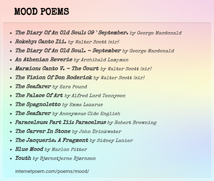 Mood Poems